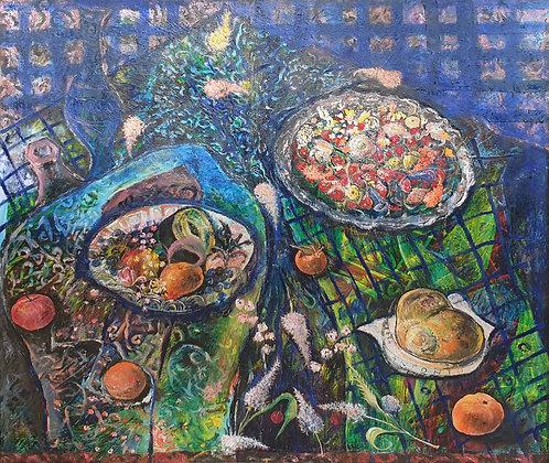B9321,Antonio, expressionistisch stilleven met fruit en bloemen