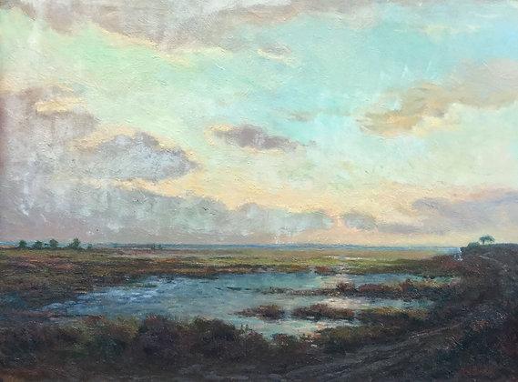 C4420-6, H. van Baar, landschap in avondlicht
