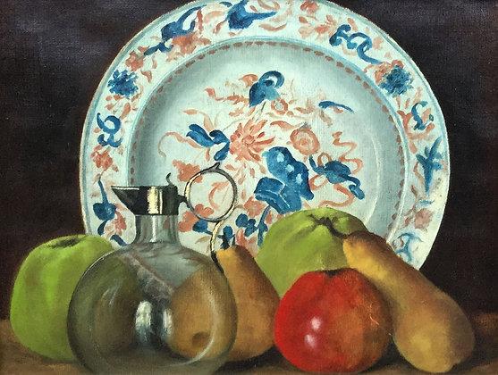C4246, Stilleven met fruit, parfumflesje en bord