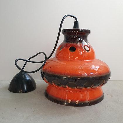 WS00192, lamp vintage, oranje-bruin, keramiek