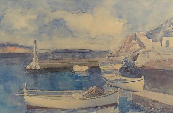 A6067, Frans Funke, Sloepjes voor de kust van Santorini
