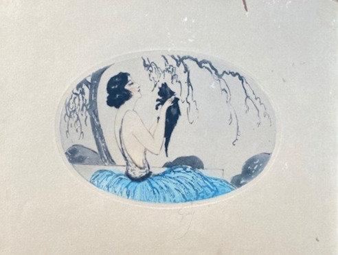 C5073-6, Guy, Portret van vrouw met huisdiertje