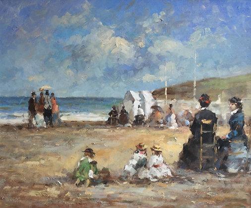 C4933, Dames met kinderen op het strand