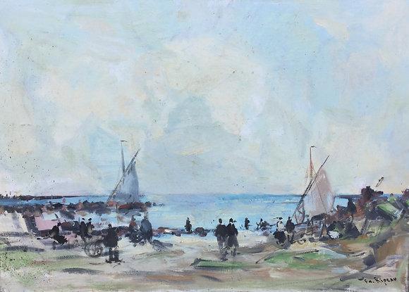 B1923-3, F.R. Rideau, strandgezicht met zeilbootjes