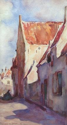 C1937-2, Wubbo de Jonge, dorpsstraatje, aquarel