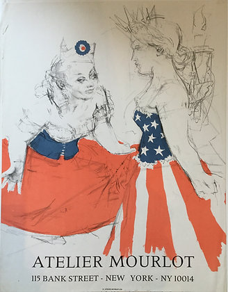 Jack Levine, Atelier Mourlot, Marianne and the Goddess of Liberty 1960, poster