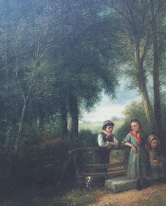 3934, Engelse School, 19 eeuw, Reuben Hunt gesigneerd - Onderonsje bij het hek