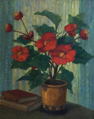 C4478, J. Maes,stilleven met rode bloemen