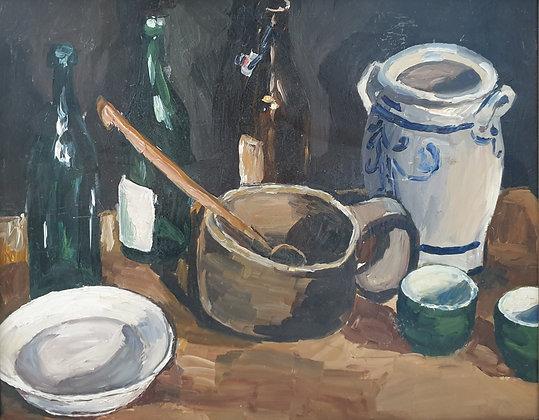 B2361, Stilleven met keramiek, wijnflessen en keulse pot