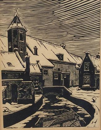 C4285, M. Ykelenstam, Stadsgracht in de winter