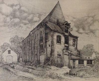 A5907, Art v.d. Ven, Staat van de oude kerk Mariaweide in juli 1954
