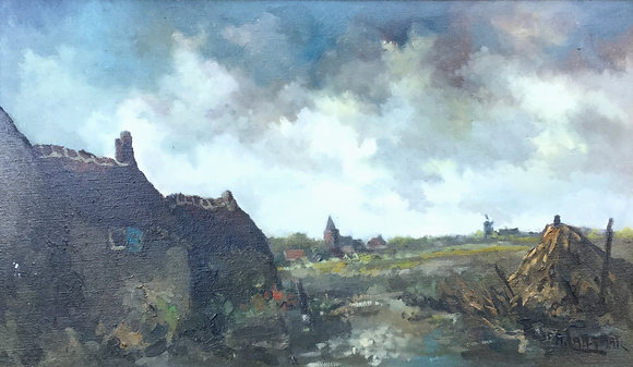 C4142-5, J.F.A. Lansaat, Landschap met boerderij en vennetje