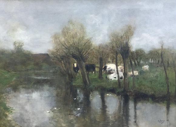 C4312, geschilderd naar AntonMauve, Polderlandschap met koeien