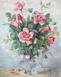 C5072-15, H. van der Ouderaa, Bloemstilleven met rozen