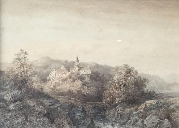 B373, J.G. Hans, kerkje in heuvellandschap, aquarel in sepia