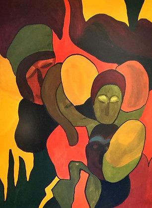 C3427-6, Cathy Hoes, abstracte voorstelling met figuren