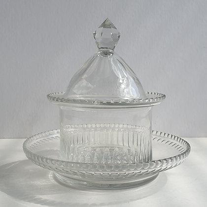 WS00181, Kristallen koekpotje, hoogte ca. 17 cm incl. deksel