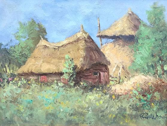 C4235, Roel Wildeboer, Boerderij met hooibergen