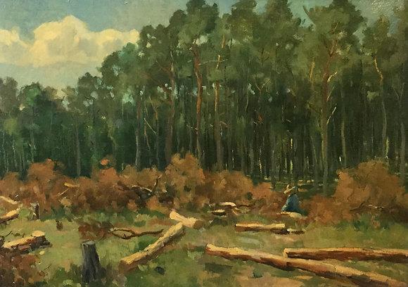 C4149-9, Jacob de Heer Kloots, bosgezicht houthakker
