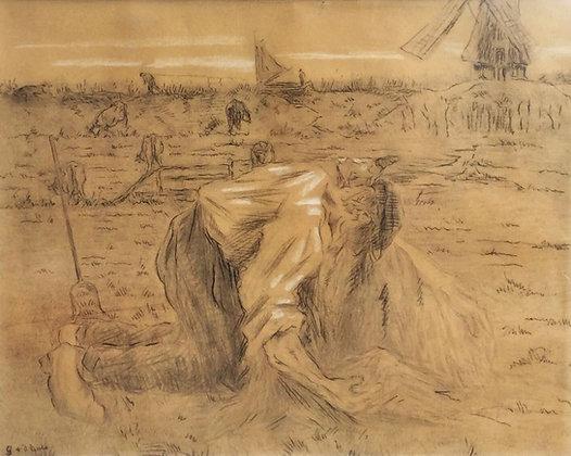 C3816, Gustave van der Does, Boer werkend op het land