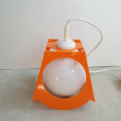 WS00193, lamp vintage-look, kunststof, oranje met witte bol