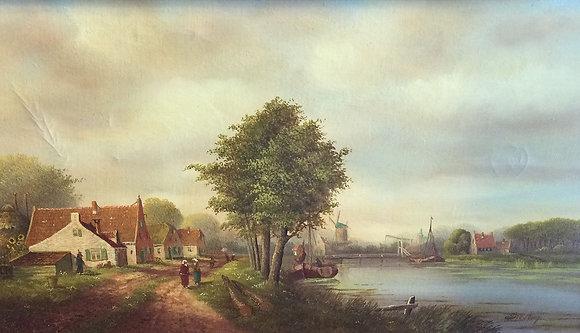 """C5016-2, """"Doesburg"""", dorpsgezicht langs een vaart"""