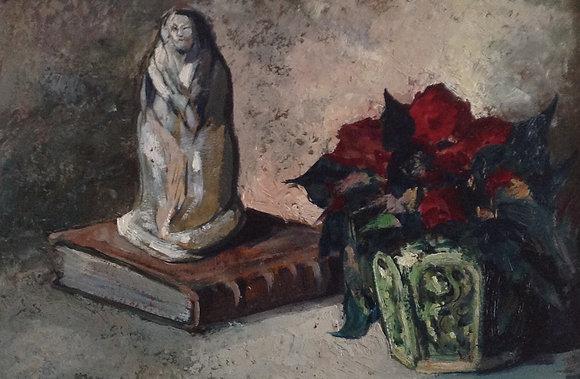 B2460, stilleven met boek, beeldje en gemberpot met bloemen,ongesigneerd