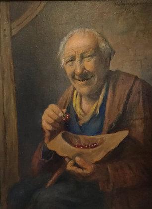C4071, W. van Nieuwenhuizen, portret 'guitige man eet bessen'