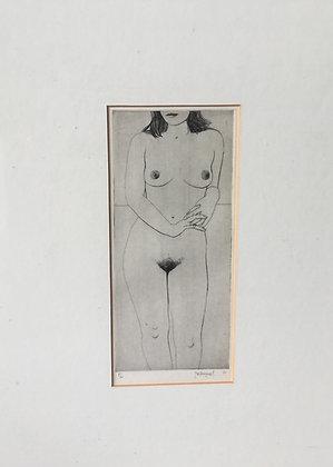 B9962, J. Wittenongel, vrouwelijk naakt, ets