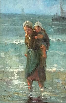 C4260, gesigneerd Spierdijk, moeder en dochter langs de kust