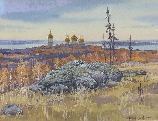 C4710-8, Sergei Kupriyanov, landschap met kerk in de verte