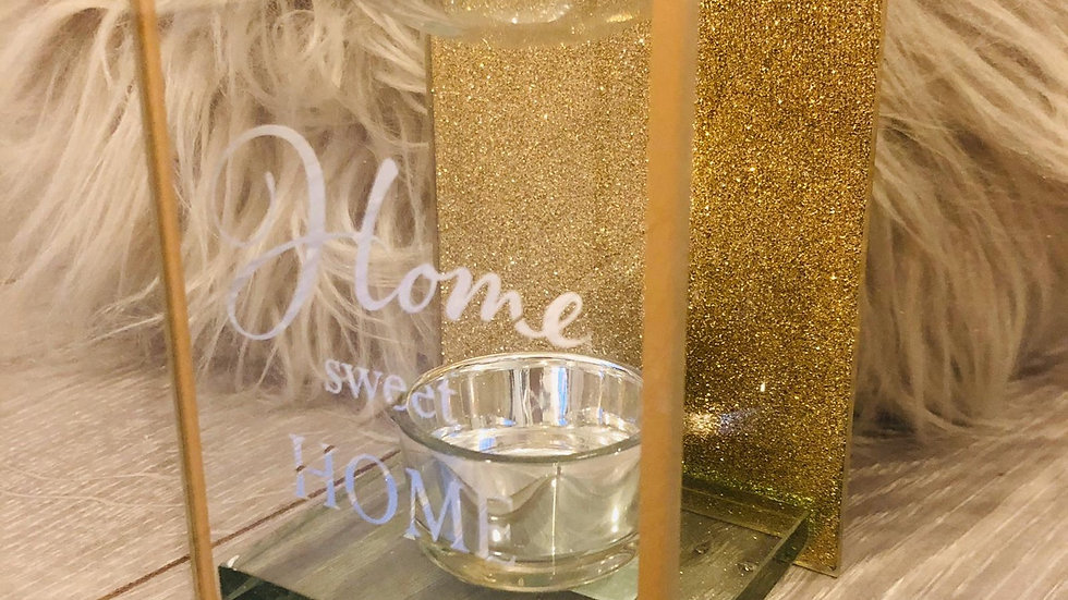 Home Sweet Home Gold Glass Burner