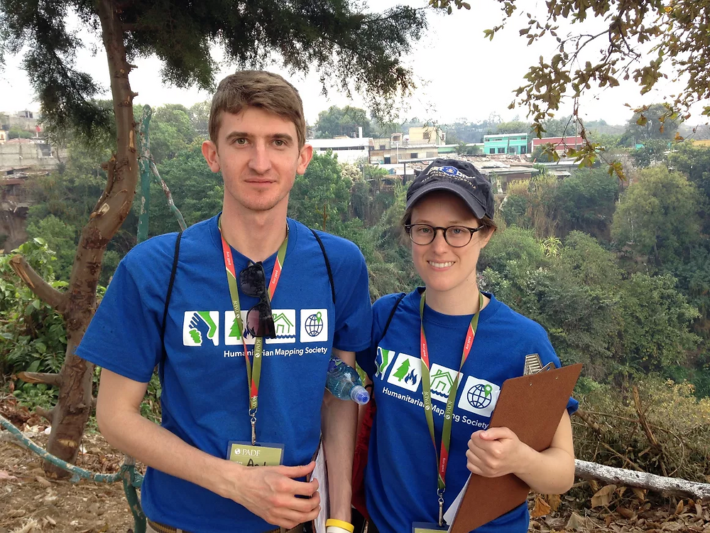 GW Geography graduate students Andrii Berdnyk and Sudie Brown during their fieldwork in Ciudad Satélite, Mixco, Guatemala