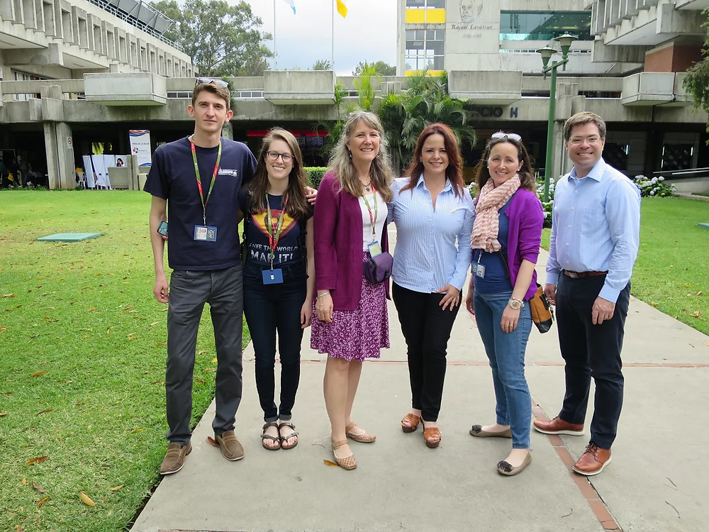 The GW and PADF research team after conducting a workshop on OSM at the University of Rafael Landivar. From left to right: graduate students Andrii Berdnyk and Sudie Brown, professor Marie Price, technical advisor for PADF Claudia Chajon, PADF senior program manager Aaron Van Alstine