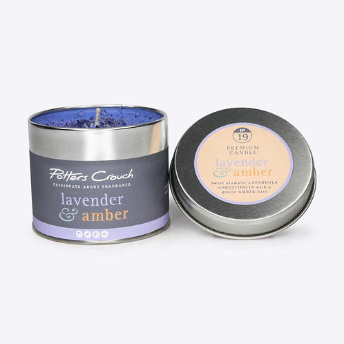 Lavender & Amber Scented Candle In A Tin