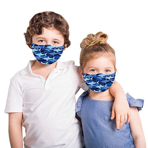 Kids Blue Shark Face Mask
