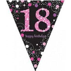 Pink Sparkles Birthday Pennant Banner