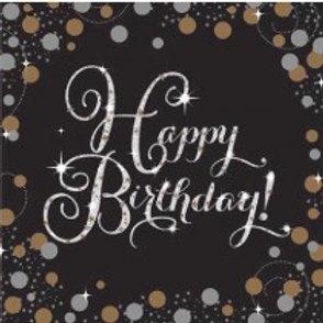 Gold/Black Sparkles Birthday Napkins