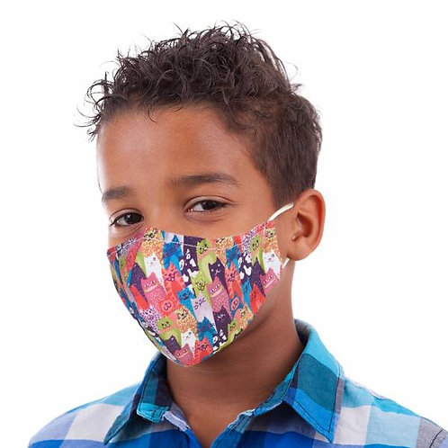 Kids Stacking Cats Face Cover