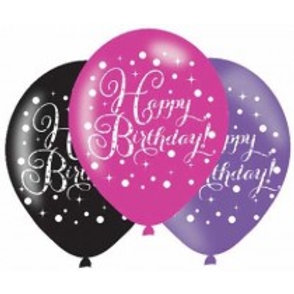 Pink Sparkles Birthday Latex Balloons
