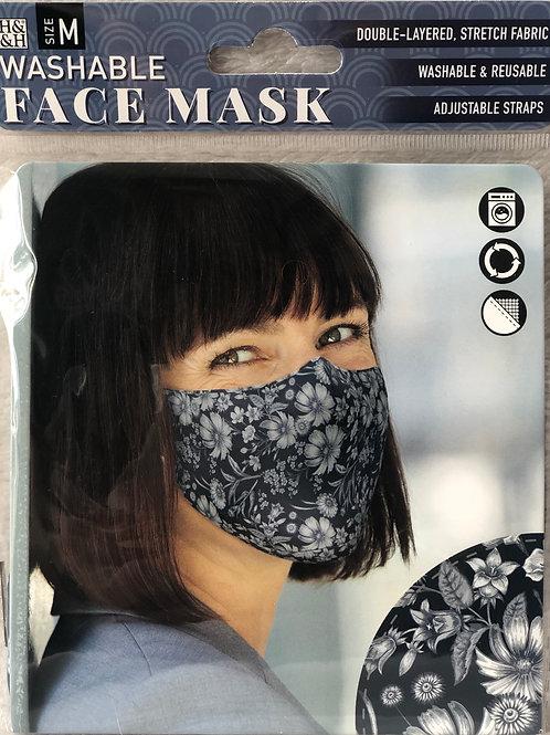 Dark Vintage Floral Face Mask (M) - 0007