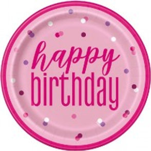 Pink Birthday Plates
