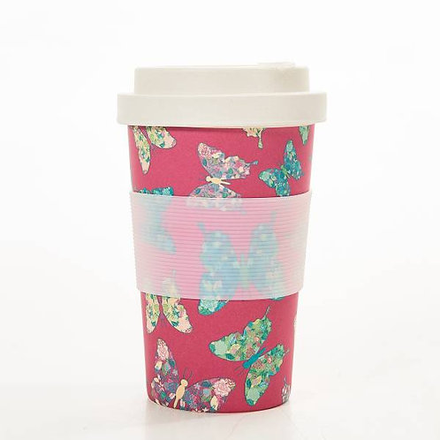 Fuchsia Butterfly Bamboo Cups