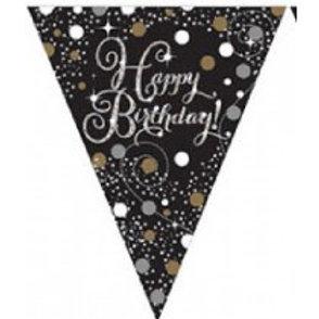 Gold/Black Sparkles Birthday Pennant Banner