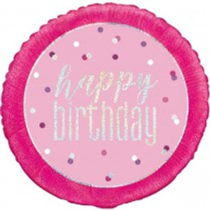 Glitz Pink Birthday Foil Balloon
