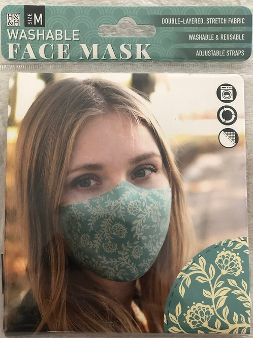 Vintage Floral Teal Face Mask (M) - 0014