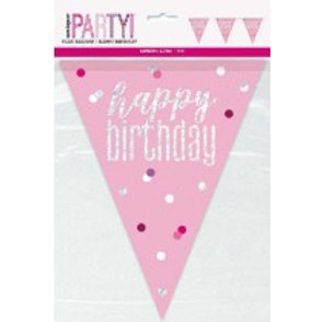 Pink Birthday Pennant Banner