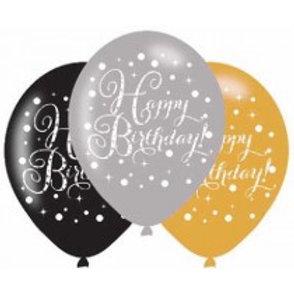 Gold/Black Sparkles Birthday Latex Balloons