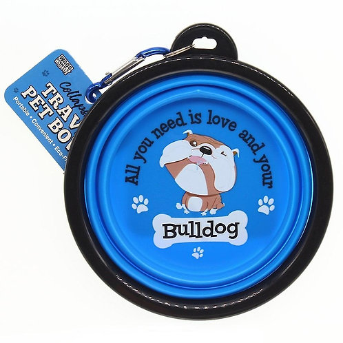 Wags & Whiskers Travel Pet Bowl - Bulldog