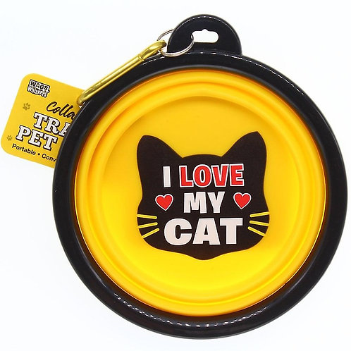Wags & Whiskers Travel Pet Bowl - I Love My Cat